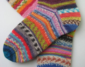 crazy socks, hand knitted womens wool socks, UK 4-6 US 6-8, fun wool socks, mismatched socks, bright striped socks, multicoloured socks