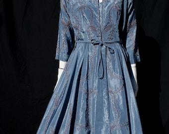 Vintage 50's new look dress retro floral design large size satin coktail party dress by thekaliman