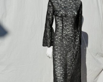 Vintage 70's Maxi dress all black lace long formal dress NOS never used size M sexy sheer bell cuffs back slit by thekaliman