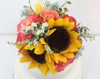 Wedding Cake Topper - Summer Inspired Coral Rose, Sunflower Silk Flower Cake Topper, Wedding Cake Flowers, Fake Flower Topper, Wild Flowers