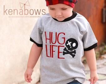Boy Urban Shirt, HUG LIFE, Skull Crossbones, Black, Grey, Rocker Boy, Buffalo Fabric Slouchy Beanie, Birthday Boy, School Shirt, Modern
