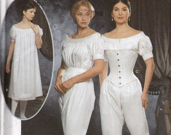 Sewing Pattern Civil War Era Undergarments Simplicity 9769 Chemise Drawers Corset