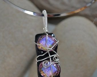 Vibrant, hand-crafted, silver wire-wrapped fused glass pendant