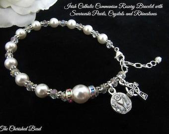 Irish Catholic Communion Rosary Bracelet with Swarovski Pearls, Crystals and Rhinestones
