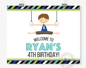 Gymnastics Welcome Sign, Gymnastics Boy Birthday Sign, Gymnastics Party Decoration, Printable 8x10 Sign