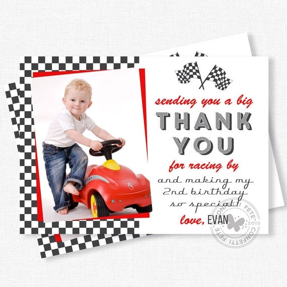 Race Car Thank You Photo Thank You Cards Racing Party Thank You