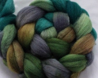 "Our Special Blend Hand Dyed BFL/Silk 4 Oz. ""Mossy Stone Wall"""