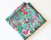 BLOWOUT 40% off sale Vintage 80s Gorgeous Ginnie Johansen Bird and Floral Scarf - Huge, ornate, Designer Silk Scarf