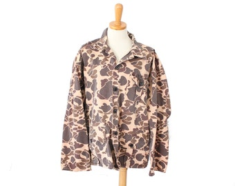Vintage 80s Camouflage Hunting Shirt Jacket - Men Small Extra Short - Punk Grunge - Halloween, American Flag Patch