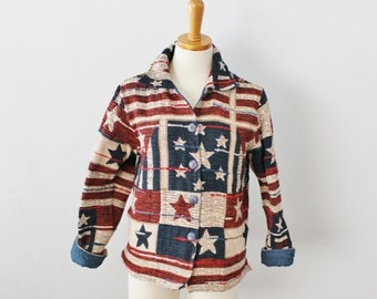 BLOWOUT 40% off sale Vintage 90s Americana Tapestry Jacket - Women Small, Stars and Stripes, USA, American Flag
