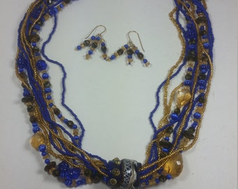 Royal Blue and Gold Lampwork jewelry set