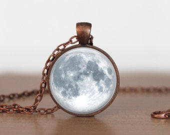 Full Moon Pendant Jewelry Full moon Necklace Moon jewelry