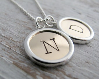 New! Mother's Jewelry, Hand Stamped Necklace, Sterling Silver and 14k Gold Filled, Mother's Gift