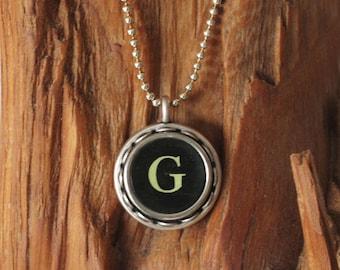 The Letter G Vintage Typewriter Key Necklace Pendant