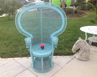 RATTAN FAN CHAIR / Turquoise Peacock Chair / Hollywood Regency Palm Beach Cottage Style Bohemian Chair at Retro Daisy Girl
