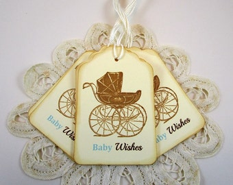 Baby Boy Wish Tags, Baby Carriage Wishes Tags, Boy Baby Carriage Wish Tags, Baby Shower Ideas