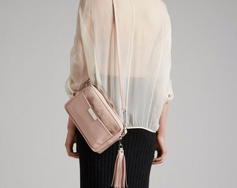 Nude Leather Cross Body Bag OPELLE ISSA Cross body handbag in Naked
