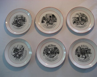 set of six charming vintage decorative Staffordshire plates