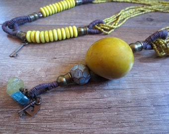 Tagua Necklace, Linen Necklace, Statement Long Necklace, Mustard Yellow Tagua, Indonesian Seed Beads, Boho Stile Necklace, Unique Necklace