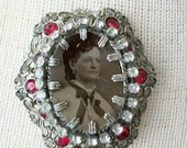 Tintype Brooch, Instant Ancestor Jewelry, One of a Kind Assemblage Jewelry made with Antique Findings