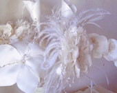 Bridal Bouquet GORGEOUS Handmade French Style Bridal Satin Lace Crystals Rhinestones Feathers OOAK - Made to Order