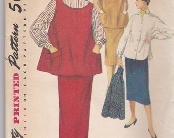 1950s Vintage pattern, womens, juniors maternity skirt, blouse, McCalls 4847, size 11 SALE