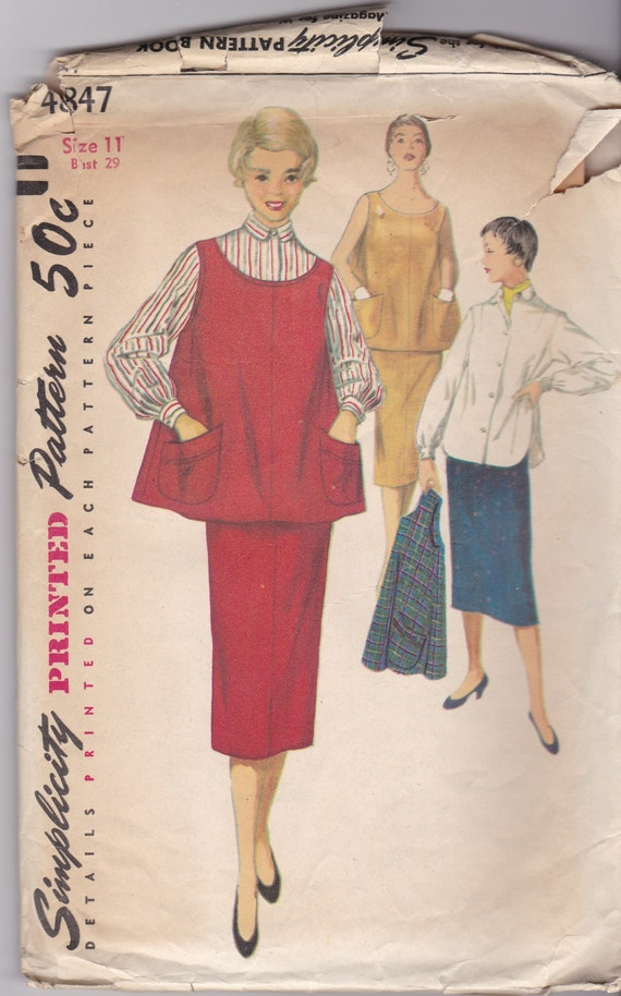 1950s vintage pattern womens juniors maternity skirt