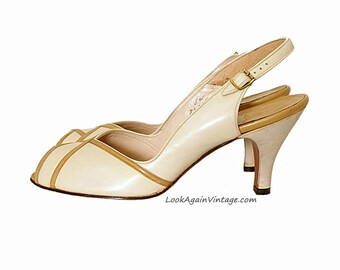Vintage 1950s High Heels Unworn Cream Tan Stripe Slingback Peep Toe Shoes / US 7.5 – 8 N