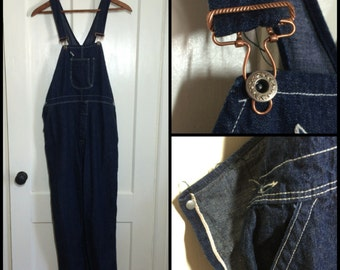 collector Antique 1920's 1930's Indigo Blue bib Overalls 39x30 with Selvedge Donut Hole Buttons and copper hardware single pocket