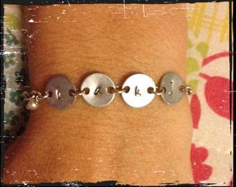 Hand Stamped Disk Bracelet