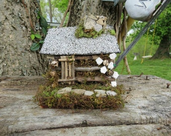 Handcrafted Rustic Miniature Log Cabin With Chimney