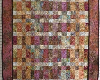 Handcrafted Quilted Batik Lap Robe Couch Throw Wall Hanging browns creams mauves golds