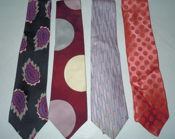 Lot of 4 Vintage Perry Ellis Silk Neckties