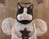 Primitive Cat Angel, OOAK, handmade from paper mache,, Black and White Cat Angel