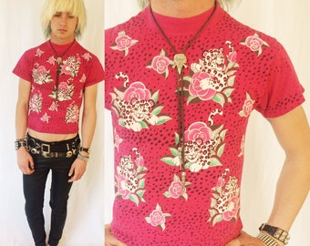 Vintage 90s SPUMONI Pink rose cheetah patterned tee 80s kids size large womens xs small puffy paint new wave animal print allover