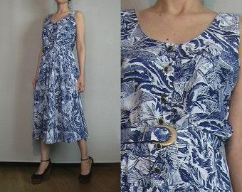 80s LEAF PRINT DELFT vtg China Blue White Leaves Belted Button Down Shirtwaist Midi Sundress Sun Dress Small Medium m/l 1980s