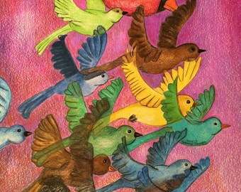 Fly Away, Birds flying, abstract birds, sky drawing, colored pencils, colorful birds,