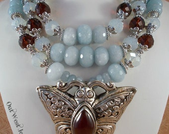 Chunky Necklace Set - Dyed Aquamarine Colored Jade - Carnelian Butterfly - Crystal - Western Statement