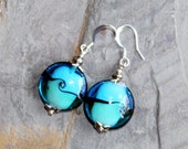Turquoise Blue Earrings, Blown Glass Earrings, Green Earrings, Statement Earrings, Handmade Earrings, Spring Earrings, Summer Earrings