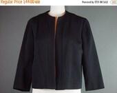 40% OFF 60s Black Blazer Suit Jacket Vintage 1960s Double Knit Coat Worsted Wool L