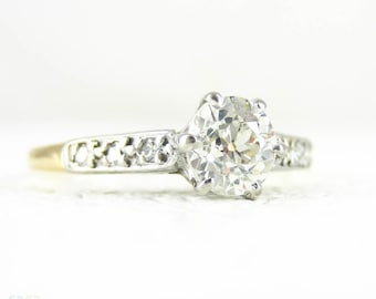 Old European Cut Diamond Engagement Ring, Antique Diamond Solitaire Engagement Ring, 0.69 ctw, 18 Carat Gold, Circa 1900s.