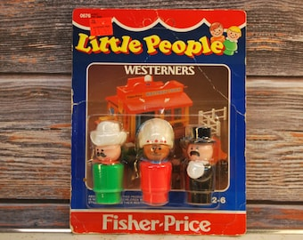 Vintage 1985 Fisher Price Play Family Little People Carded Westerners, New-Old-Stock, FREE SHIPPING
