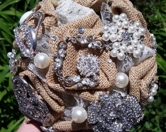 Rustic Burlap Brooch Bride Bouquet
