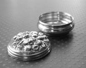 Vintage Art Nouveau Pill Box / Vintage Solid Sterling Silver/ Repousse Sterling Silver Accessory / Vintage Pill Container / Gift for Her