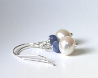 SALE Earrings, Genuine Sapphire and Freshwater Pearl Earrings, Dangle Earrings, Gift for Her, Sapphire Gemstone Earrings