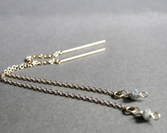 Diamond Chip Earrings / Luxe Jewelry / Dangle Earrings / Raw Diamond Earrings /  14k Gold Filled Threader Earrings / Diamond Earrings
