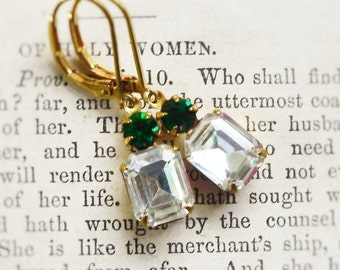 Emerald Kissed, Crystal  Clear & Emerald Green,Vintage Rhinestone Estate Style, Old Hollywood Earrings by Hollywood Hillbilly