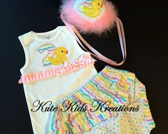Toddler Girl Birthday Hat, Bodysuit, and Diaper Cover Set, Second Birthday, Rubber Duck, Photo Prop, Ready to Ship