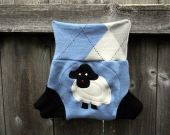 Upcycled Wool  Soaker Cover Diaper Cover With Added Doubler Light Blue & White  / Black With Baa Baa Sheep Applique SMALL 3-6M