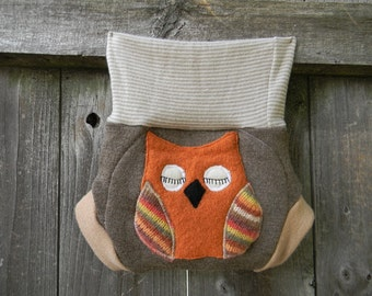 Upcycled Wool Soaker Cover Diaper Cover With Added Doubler Brown/ Beige  With Owl Applique SMALL 3-6M Kidsgogreen